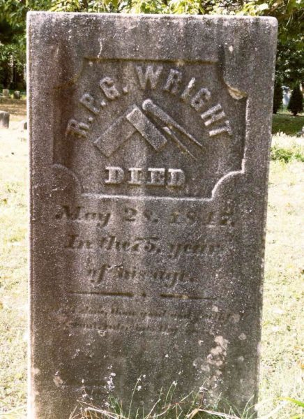 Headstone of R.P.G. Wright, an advocate of universal education for African-Americans, who died 1847 at the age of 75.